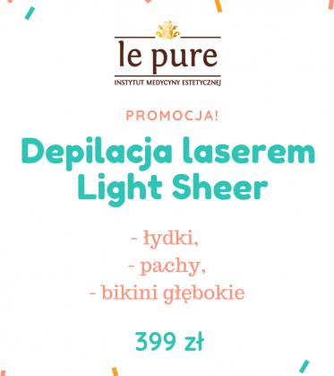 Super pakiet: depilacja laserem Light Sheer łydki + głębokie bikini + pachy